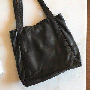 Minimal leather tote shoulder bag espresso brown